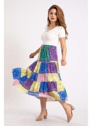 Madame Sare  Kadın Otantik Desenli Uzun Etek Renkli